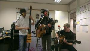 Finn and band studio